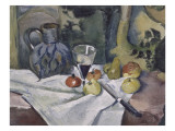 Fruits, cruche bleu et verre de vin Reproduction procédé giclée par Paul Gachet