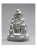Group of Three White Porcelain Figures Near a Cliff Giclee Print