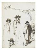 Quatre études de Zo d'Axa Giclee Print by Théophile Alexandre Steinlen