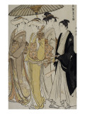 Filles de samoura&#239; accompagn&#233;es d&#39;un jeune homme Giclee Print by Torii Kiyonaga