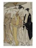 Filles de samouraï accompagnées d'un jeune homme Giclee Print by Torii Kiyonaga
