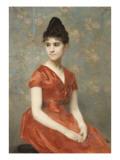 Jeune fille en robe rouge sur fond de fleurs Giclee Print by Emile Levy