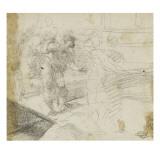 Figures marchant sur une passerelle Giclée-tryk af Domenico Beccafumi