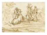 Combat d'Achéloüs et d'Hercule Giclée-tryk af Alessandro Algardi
