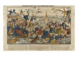 Inondation de la Loire en 1846 Stampa giclée