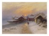 Village de pêcheur au crépuscule, Norvège.1904 Giclee Print by Johannes Martin Grimelund