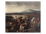 Combat de Ceramo en Sicile, 1061, victoire de Roger Ier de Sicile sur 35.000 Sarrasins Gicleetryck av Prosper Lafaye