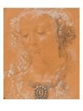Tête de femme, les yeux baissés, légèrement tournée vers la gauche Giclée-tryk af Andrea del Verrocchio