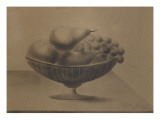 Fruit Dish on a Table with Grapes, Pears and Fishing Giclee Print by Alexandre-Gustave Eiffel