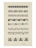 Frise d'éléments floraux et animaliers : raies, dauphins, paons Giclee Print