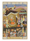Shahnameh de Ferdowsi ou le Livre des Rois. Sohrab regard la tente noire des chefs de l'armée perse Gicleetryck