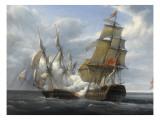 Combat de frégate française Canonnière contre vaisseau anglais Tremendous, 21 avril 1806 Giclée-tryk af Pierre Julien Gilbert