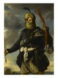 Figure de guerrier oriental tenant un arc Giclée-tryk af Pier Francesco Mola