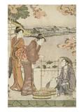 Marchand ambulant de tortues et de poissons tenant un épuisette Giclee Print by Torii Kiyonaga