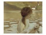 Jeune fille dans un paysage Gicléetryck av Paul Chabas