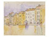 Maisons ensoleillées au bord de l'eau, à Saint Tropez Giclée-tryk af Paul Signac