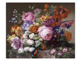 Corbeille de fleurs peintes au naturel Giclee Print by Joseph Nigg