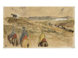 En route; Paysage entre Tanger et Meknès; mars 1832 Giclee Print by Eugene Delacroix