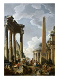 Architectural Caprice with a Preacher in Roman Ruins Giclee Print by Giovanni Paolo Pannini