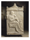 Attic Funerary Stele with Pediment: Woman and Girl Giclee Print