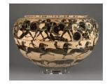 Dinos à figures noires : Héraclès et les Amazones, course de chevaux et frise d'animaux Lámina giclée por Tyrrhénien Groupe