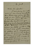 Holograph Letter to Theophile Gautier, August 4, 1861 Giclee Print by Eugene Delacroix