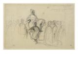 """Arabe sur son cheval, entouré personnages; étude pour """"Le Sultan de Maroc"""" (1845, Toulouse) Giclee Print by Eugene Delacroix"""