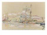 Bateaux dans le port d'Ajaccio Gicléetryck av Paul Signac