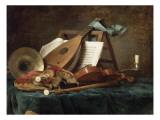 Attributs de la musique Giclée-Druck von Anne Vallayer-coster