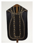 Black Velvet Chasuble Embroidered in Gold and Silver Giclee Print