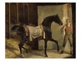 Cheval noir sortant de l'écurie Giclée-Druck von Horace Vernet