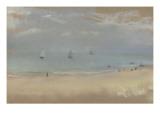 Au bord de la mer, sur une plage, trois voiliers au loin Giclée-tryk af Edgar Degas
