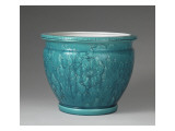 Cache Pot Vase Velizy, Engraved Turquoise Background Giclee Print