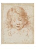 Buste d'enfant vu de face regardant en bas Giclée-tryk af Carlo Dolci