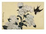 Hortensia et hirondelle Giclée-Druck von Katsushika Hokusai