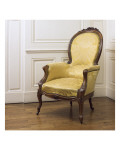 Armchair Napoleon Iii Covered with Yellow Silk Damask Giclee Print