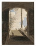 A la villa Farn&#232;se : l&#39;escalier Gicl&#233;e-Druck von Pierre Henri de Valenciennes