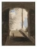 A la villa Farnèse : l'escalier Giclée-Druck von Pierre Henri de Valenciennes