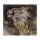 Eugene Delacroix - T? de lion rugissant - Giclee Baskı