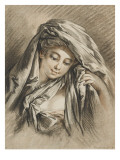 Bust of a Young Woman, Her Head Covered with a Veil Giclee Print by Gilles Demarteau
