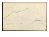 Carnet : Vue de la côte Corse (), esquisse de paysage Gicleetryck av Paul Signac