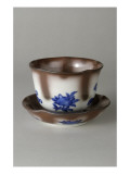 Calyx Cup and Saucer, Decorated with Blue and Brown Giclee Print