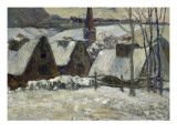 Village breton sous la neige Impression giclée par Paul Gauguin