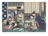 Quartier des maisons de plaisir à l'aube Giclee Print by Utagawa Kunisada