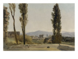 A la villa Farnèse : les trois peupliers et le Mont Latium Giclée-Druck von Pierre Henri de Valenciennes