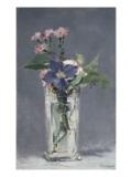 Oeillets et clématites dans un vase de cristal Giclee Print by Edouard Manet