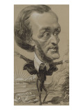 Caricature of Wagner, with a Huge Head on a Tiny Body Giclee Print by Etienne Carjat