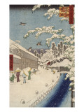 Personnage marchand sous la neige Giclee Print by Ando Hiroshige