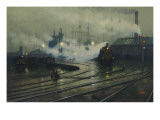 Les docks de Cardiff Giclee Print by Lionel Walden