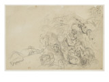 Cavaliers and Warriors in Medieval Costumes, Fighting Giclee Print by Eugene Delacroix